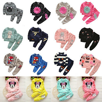 Baby Toddler Girls 2PCS Tracksuit Sweatshirt Top Pants Outfits Sets Lounge Suits