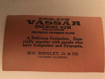 Vintage NOS EARLY 1900's Wrigley's VASSAR Gum Wrapper, RARE FIND, MINT COND