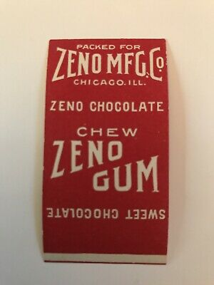 Vintage NOS, EARLY 1900'S ZENO CHOCOLATE TAB Gum Wrapper, RARE FIND, MINT