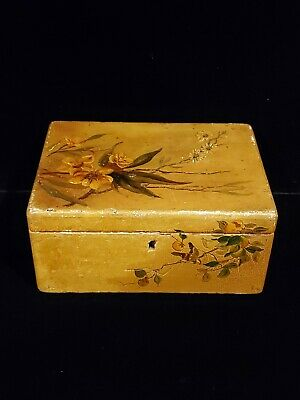 Antique Decorative Hand Painted Wooden Storage Box Floral / Bird  Hinged Lid