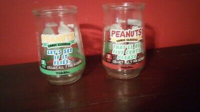 Two (2) Vintage Welch's Jelly Glass Peanuts Comic Classics #1 & #3