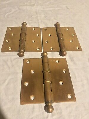 "Lot of 3 Antique Stanley Sweetheart 4.5""x4.5"" BB 241 1/2 Ball Tip Door Hinges"