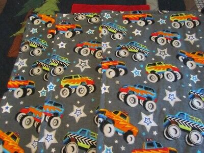 Set of Three Gray Monster Truck Boy Double-sided Flannel Burp Cloths