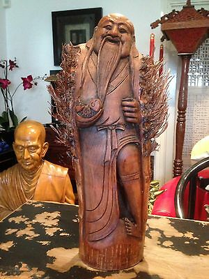 Antique Chinese Buddha Bamboo Root Carved,Oriental,sculpture,figure,45cm Large