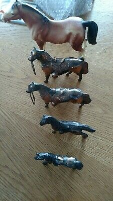 4 Vinntage Metal HORSE'SStatue Western Copper/brass USA & one plastic