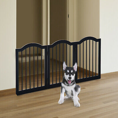 Pet Gate Small Dogs Black 3 Panels Wooden Fence Freestanding Foldable Furniture