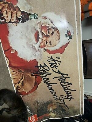 VERY RARE Coca Cola Coke Is It! Santa Claus Sign 5 Ft. By 2 1/2 Ft.
