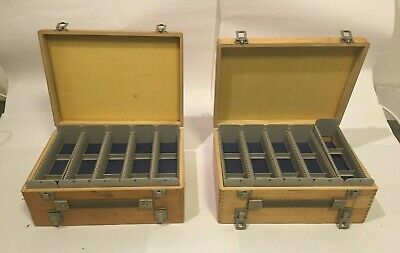 2 x Vintage Double Sided Wooden 35mm Slide Boxes
