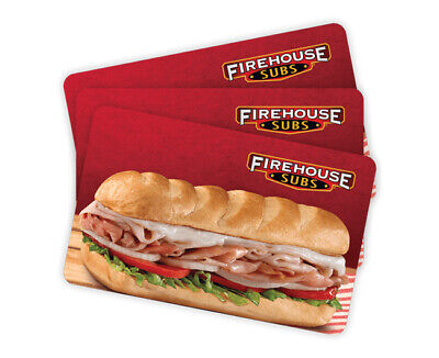Firehouse Subs Paper Gift Certificates $50 (2 x $25)