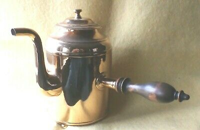 Antique Copper Chocolate Pot, Wood Handle, Very Rare Fire Heated Iron Element