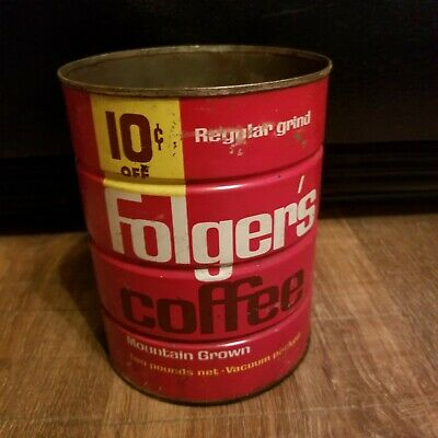 Vintage Folgers Mountain Grown Coffee Can 2lbs Regular Grind 10 cents off