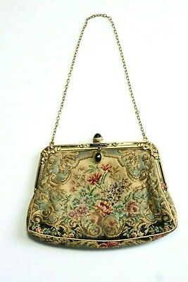 Antique Petit Point Tapestry Floral Jeweled Purse Bronze Bows on Frame