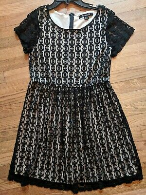 BLACK Lace Dress SIZE XS S Ladies Fully Lined Fancy Party FOREVER 21 GIRLS TEEN