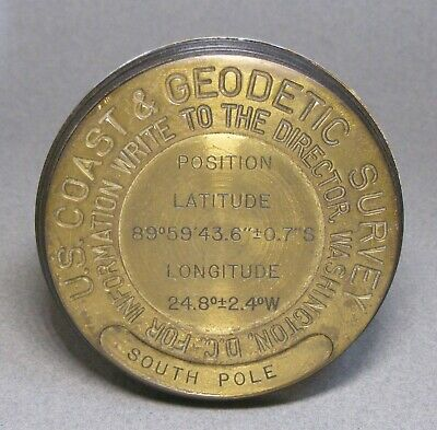 US Coast & Geodetic Survey South Pole Brass Paperweight