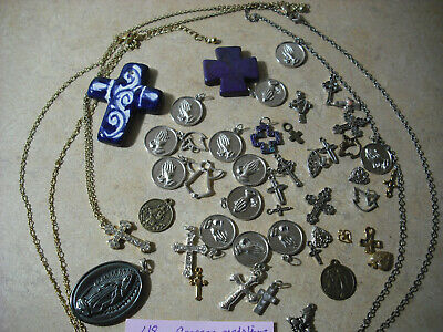 Crosses/melallions/necklaces,charms Lot of 48