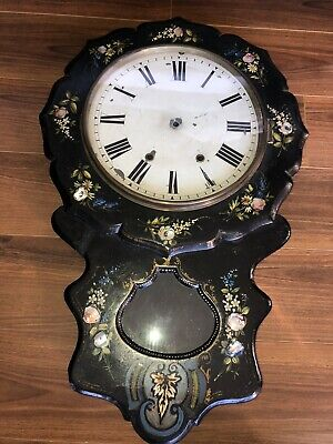 English Antique Wall Clock Case With Pearl And Painted Detail
