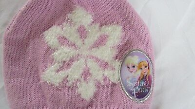 Girls FROZEN pink/white metallic winter hat sz 4 - 16