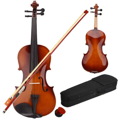 Natural Full Size 4/4 Acoustic Violin + Case + Bow + Rosin