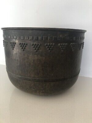 VINTAGE BRASS EMBOSSED and HAMMERED JARDINIERE PLANTER POT