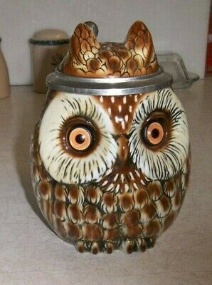 Vintage Germany Owl Beer Stein Mug with Flip Cover Excellent Condition