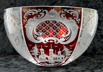 Egermann Czech Bohemian Cut back to clear ruby red etched crystal bowl 7.5 inch