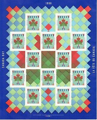 Full Pane of Canada Stamp #1607a - Maple Leaf Quilt (1996) 12 x 45¢