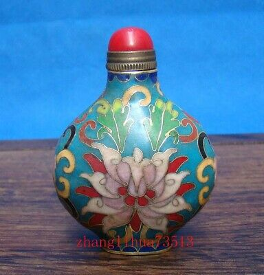 Collectible Handmade Painting Copper Cloisonne Enamel Snuff Bottles