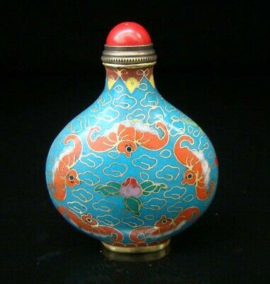 Collectibles 100% Handmade Painting Brass Cloisonne Enamel Snuff Bottles 088