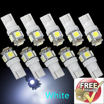 10x T10 Xenon White Light Bulb W5W Wedge 5 SMD 5050 License Plate LED 192 194 RV