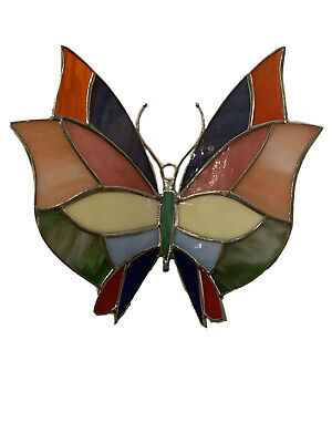 """Butterfly 3D (Multicolor)- Handmade - Stained Glass - Sun Catcher- 7""""X 6"""" Inches"""