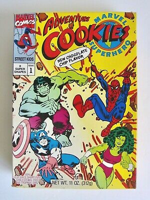 Vintage 1991 Marvel Superhero Cookies Box Comics Spider-Man Hulk Captain America