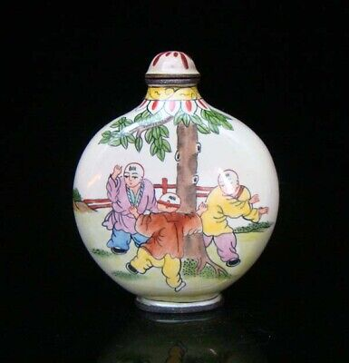 100% Handmade Painting Brass Cloisonne Snuff Bottles People 027
