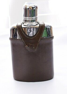 "Vintage Bosca Glass Hip Flask Leather Case Cap Heirloom 8oz Half Pint 6"" Whiskey"