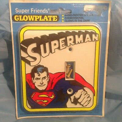 Vintage 1976 Superman Light Switch Wall Plate Cover glow in the dark-NIP