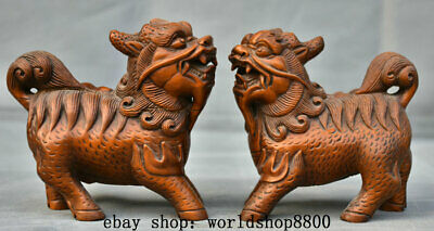 """4"""" Old Chinese Boxwood Wood Hand Carved Dragon Kylin Qilin Beast Statue Pair"""