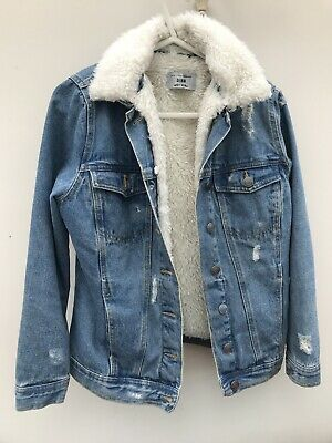 Girls New Look Denim Jacket With Removable Fur Hood Age 10-11