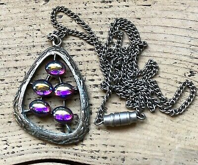 Vintage Silver Tone Necklace Pendant Dragons Breath Glass Beads Stones Old Clasp