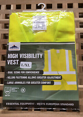 Port West High Visibility Vest Yellow Size L-XL New