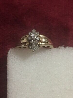10 Kt Yellow Gold Ladies Diamond Ring Scrap Or Wear Size 5