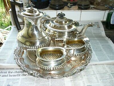 Silver Plated Tea & Coffee Set With Tray
