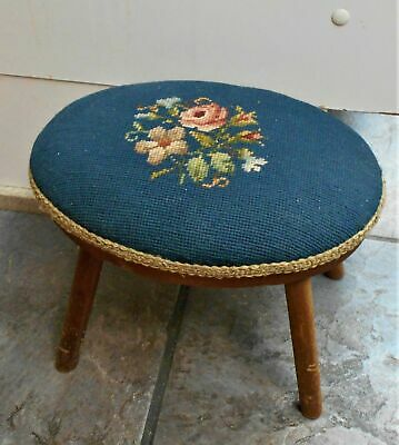 Vintage Blue Floral Antique Needlepoint Stool Colonial Fireside Cricket Ottoman