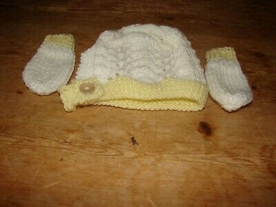 brand new hand knitted white and lemon hat and mittens  set NEWBORN