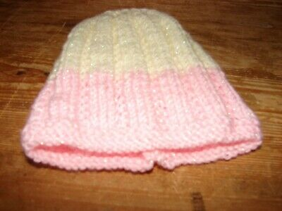 brand new hand knitted Cream & pink hat Newborn