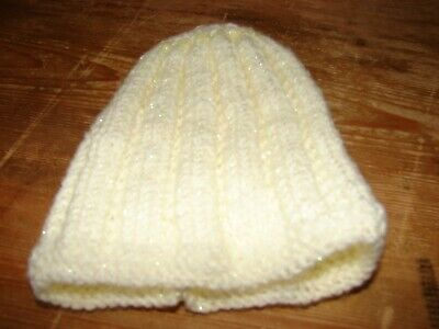 brand new hand knitted Cream & Lemon hat Newborn