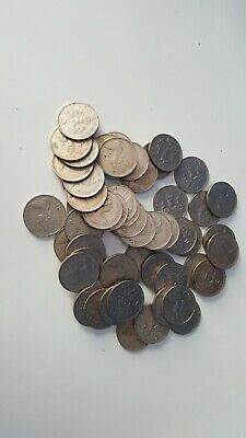 53 x 1970s UK 5p Five New Pence Coins