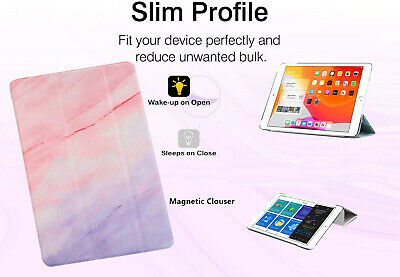 Pink Color Marble Case Smart Translucent Stand Cover for iPad 5th 6th 9.7 Air 2