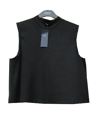 Marks & Spencer Black Crop Top Ribbed Band Neck with Stretch Sleeveless