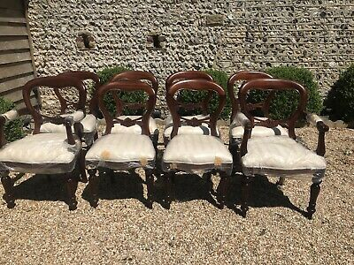 Victorian Antique Reproduction Balloon Back Dining Chairs (set of 8)