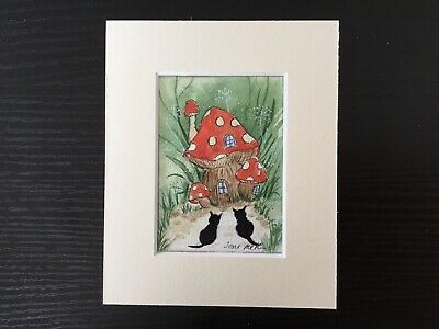 aceo original watercolour paintingToni Cats By The Toadstool Cottage.