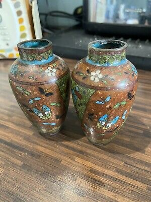 Two Small Cloisonne Vases 3 Inch Tall